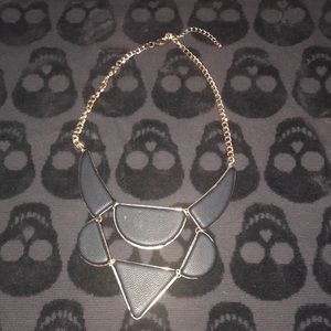 Faux leather black and gold shapes necklace